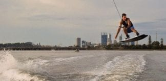 a man wakeboarding in perth